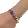 Purple Agate with Cultured fresh water pearl Elastic Bracelet
