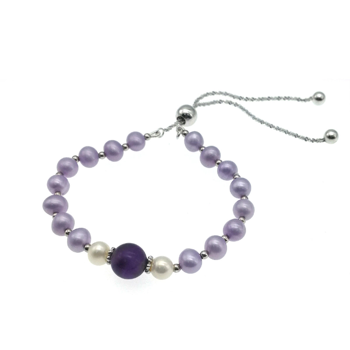 Amethyst with Cultured fresh water pearl 925 Silver Bracelet (Adjustable)