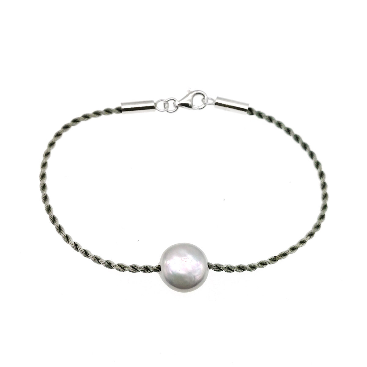 Cultured fresh water pearl with silk cord bracelet