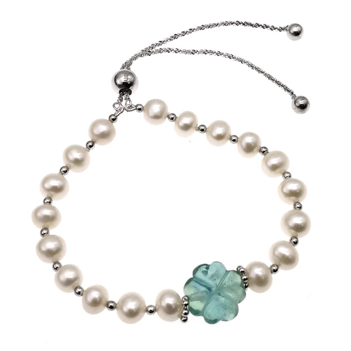 925 純銀 淡水養殖珍珠配四葉草形狀螢石手鏈-可調節長度