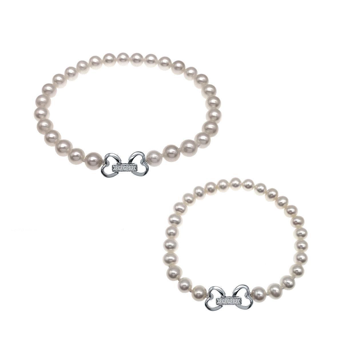 親子手鏈套裝-養殖淡水珍珠配925純銀手鏈