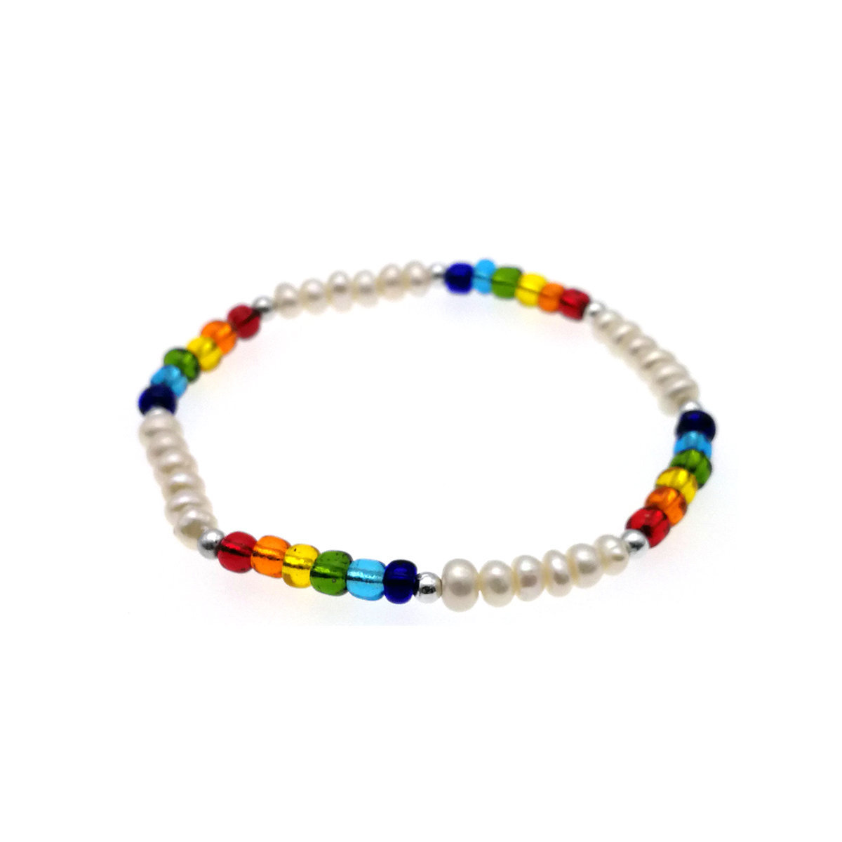 Rainbow- Fresh Water Pearl Elastic Bracelet