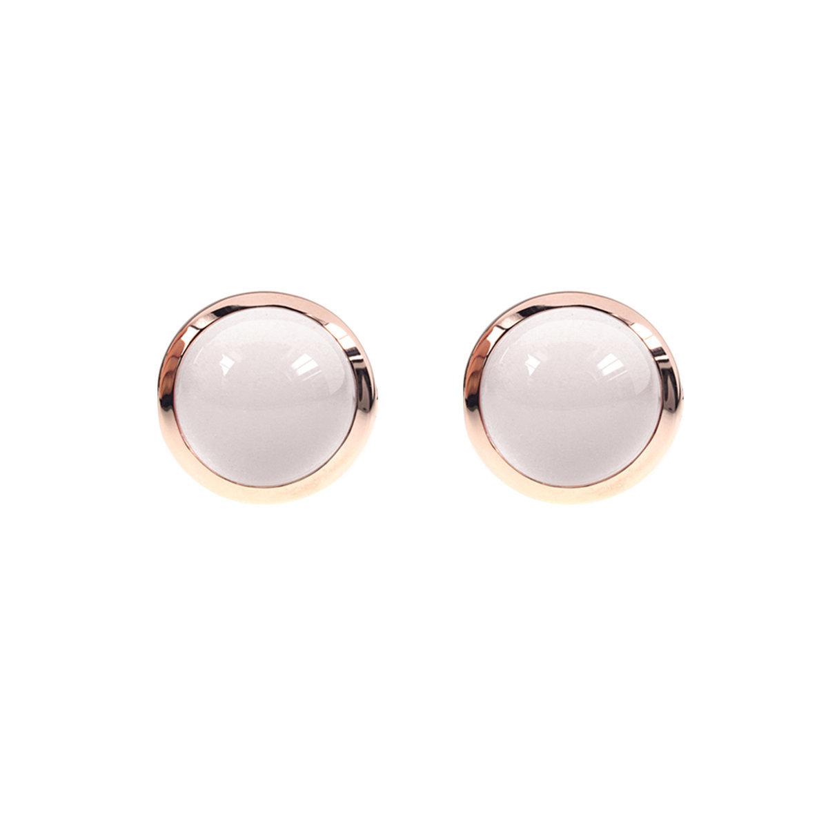 幸運石系列-玫瑰金色925銀鑲白瑪瑙耳環