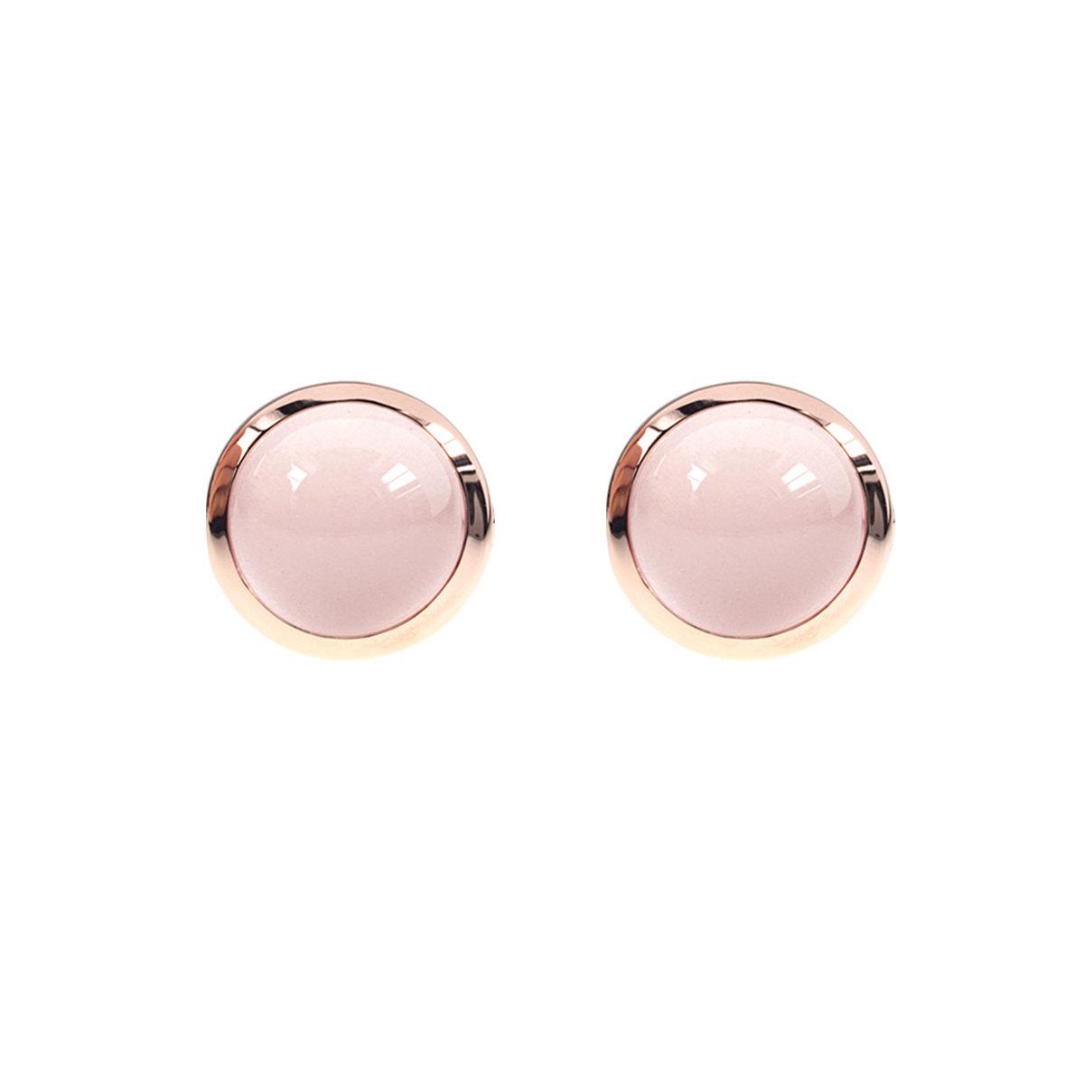 無條件的愛系列- 玫瑰金色925純銀鑲粉紅水晶耳環