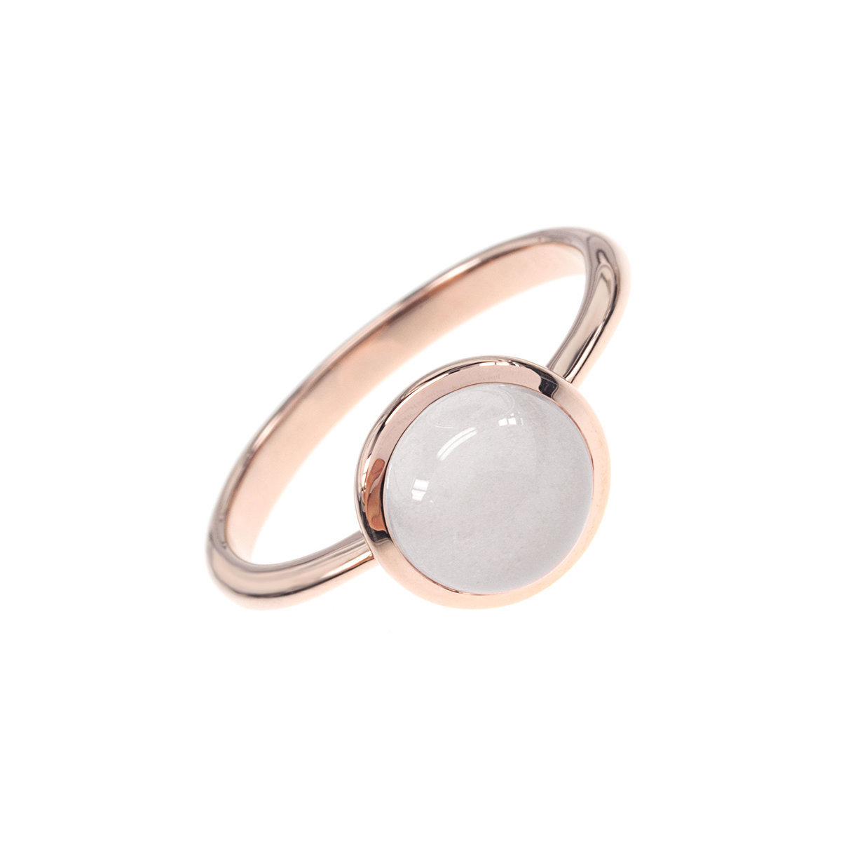 Lucky Stone Series- Rose quartz mounted 925 silver with rose gold plated ring