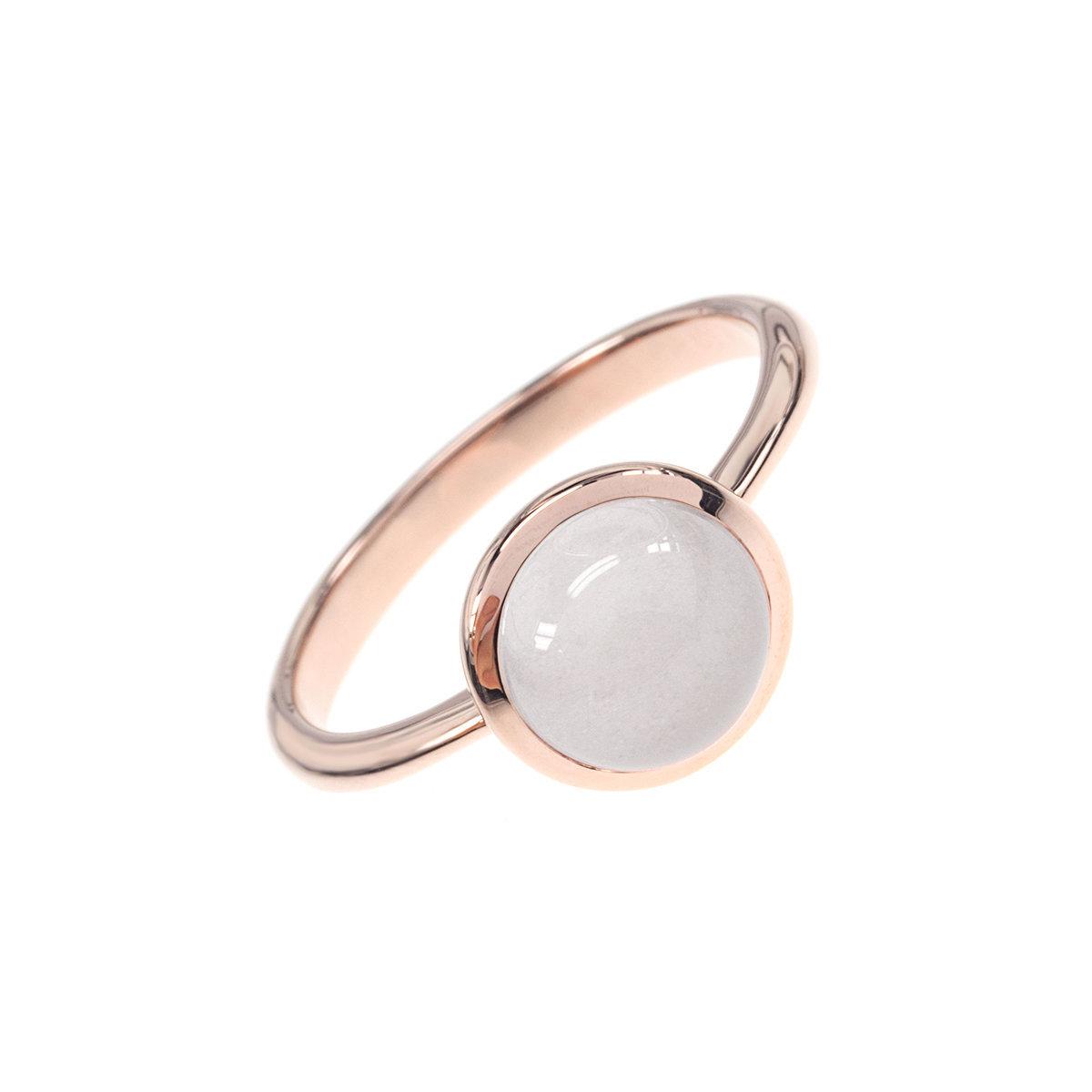 幸運石系列-玫瑰金色925銀鑲白瑪瑙戒指