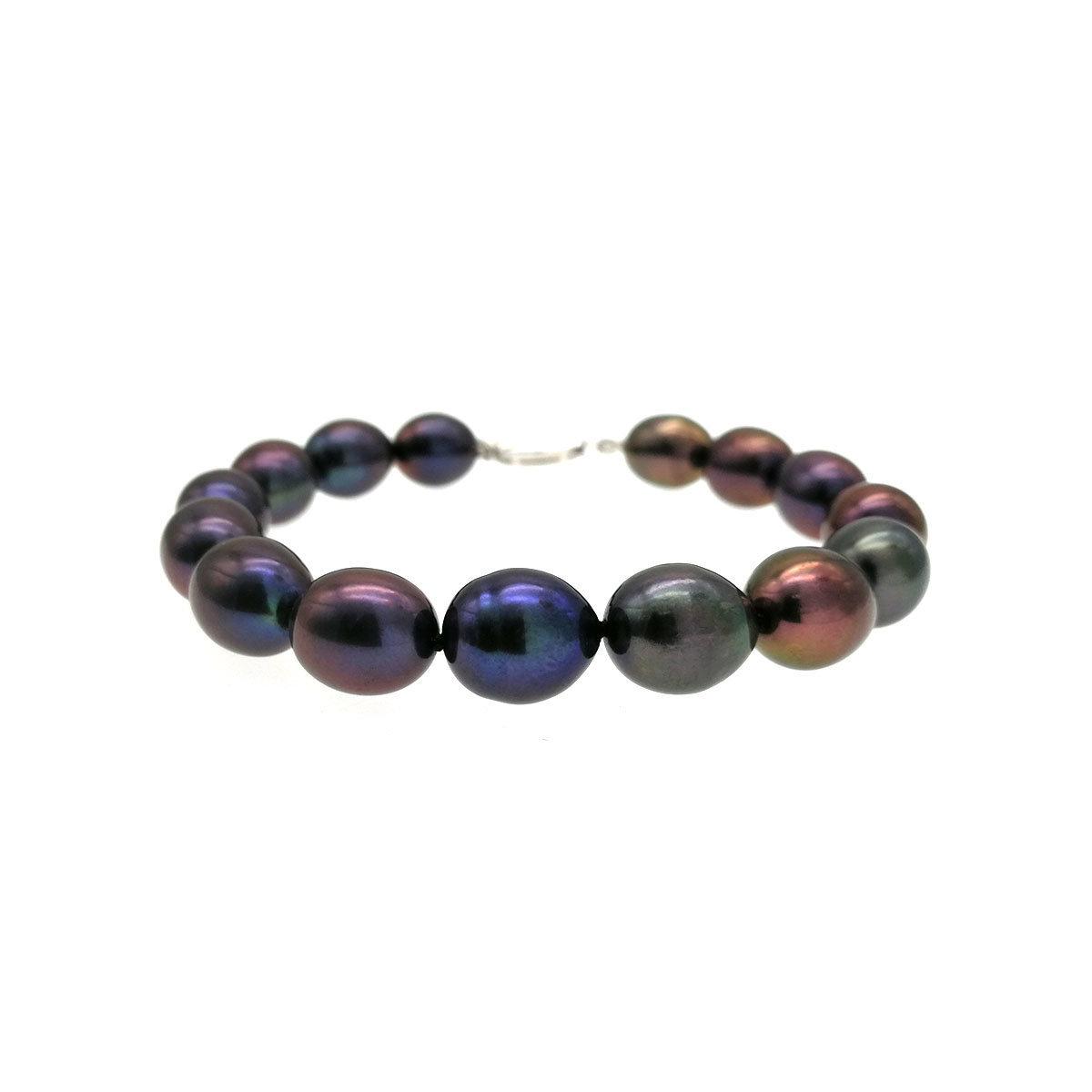 Night Sky- 10-11mm Oval Shape Cultured Fresh Water Pearl Bracelet