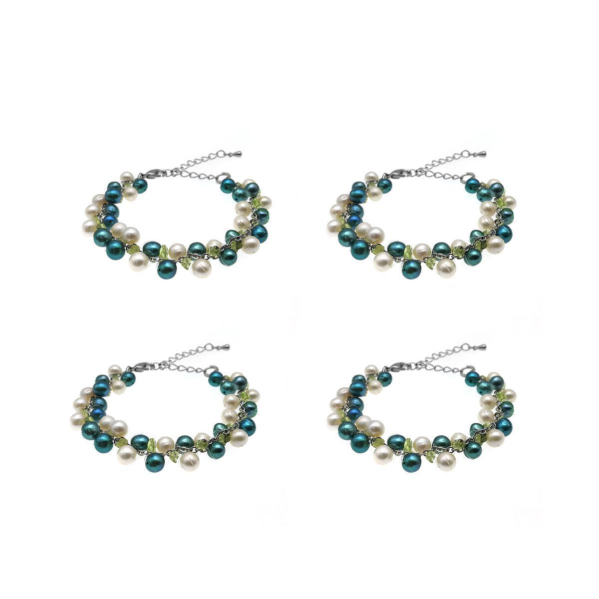 伴娘姊妹禮物- 橄欖石配淡水珍珠手鏈4,5,6件裝