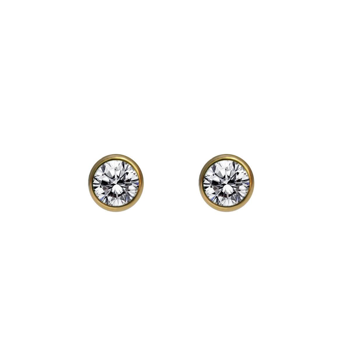 14K gold filled (1/20) mounted cz bezel post earring