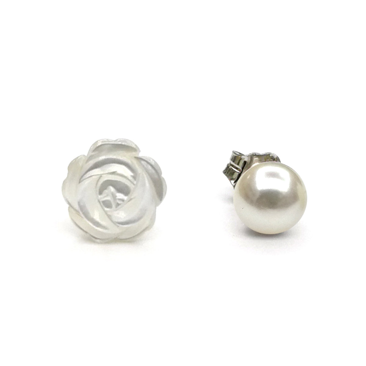 5-6mm Cultured fresh water pearl with MOP silver earring