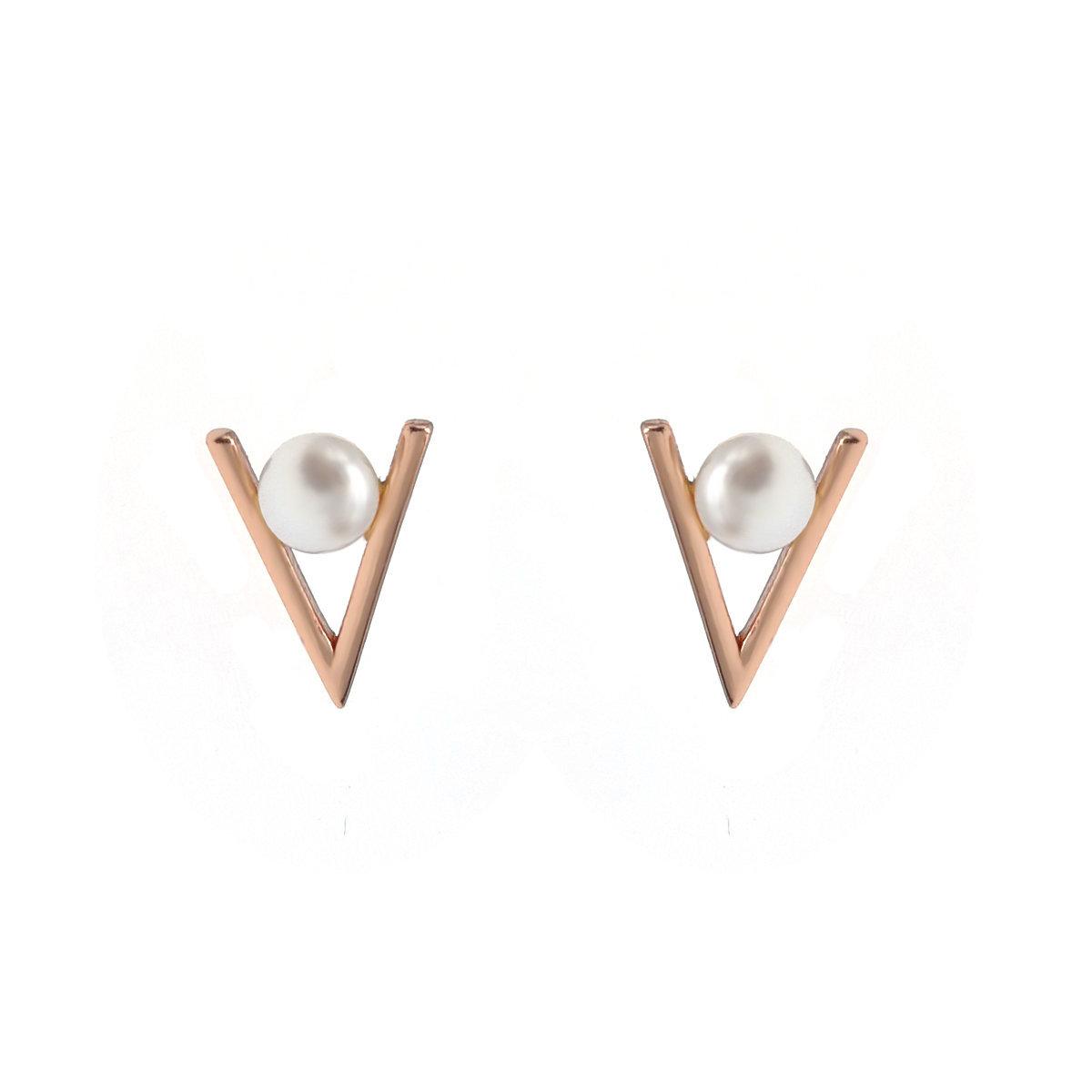 V-玫瑰金色925純銀配淡水珍珠耳環