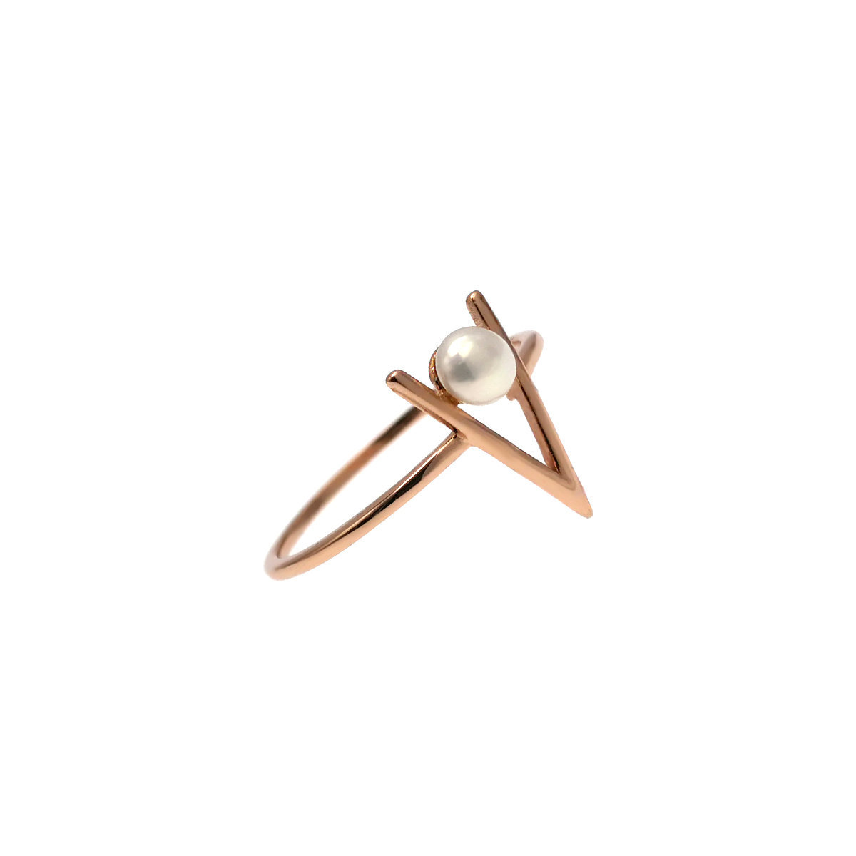 V-Rose Gold plated 925 silver with Cultured fresh water pearl ring