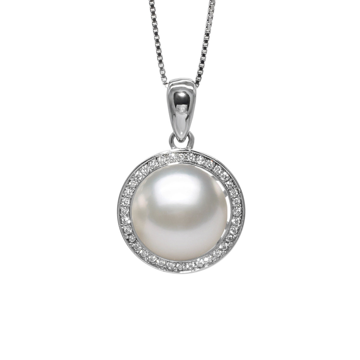 Sunset- 10-11mm Cultured fresh water pearl with cz mounted 925 silver pendant
