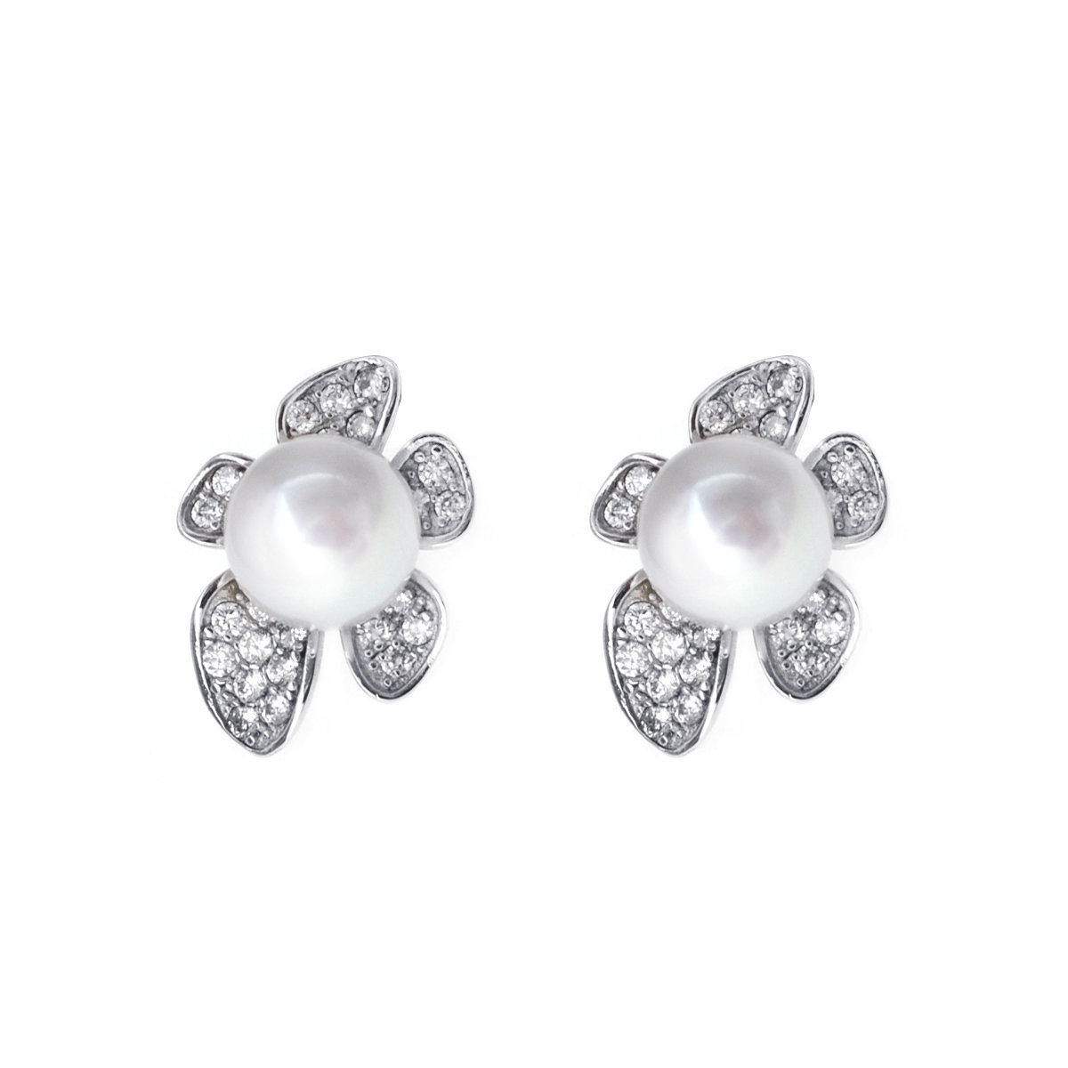 Flora- Cultured fresh water pearl with cz mounted 925 silver earring