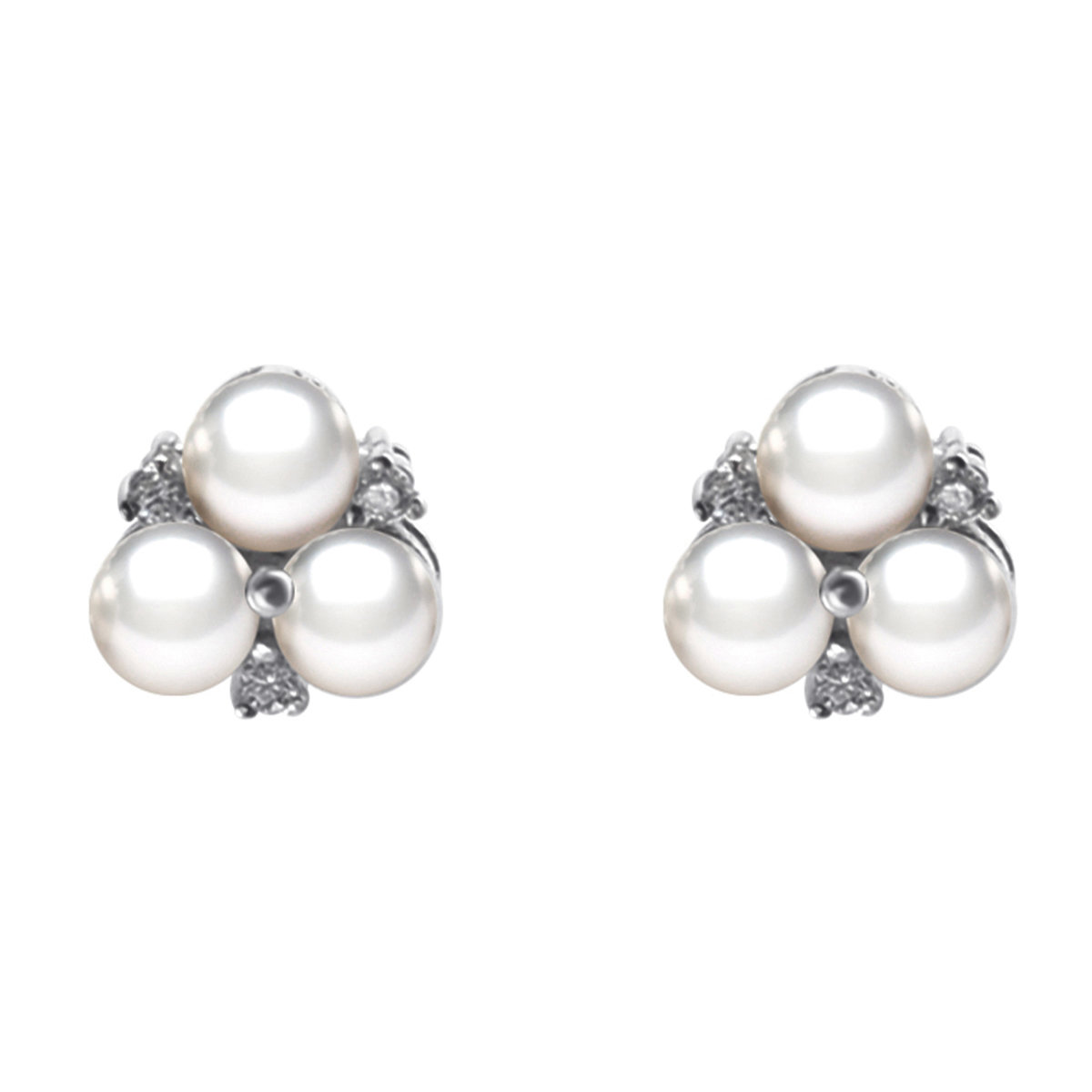 Cotton- Cultured fresh water pearl with cz mounted 925 silver earring