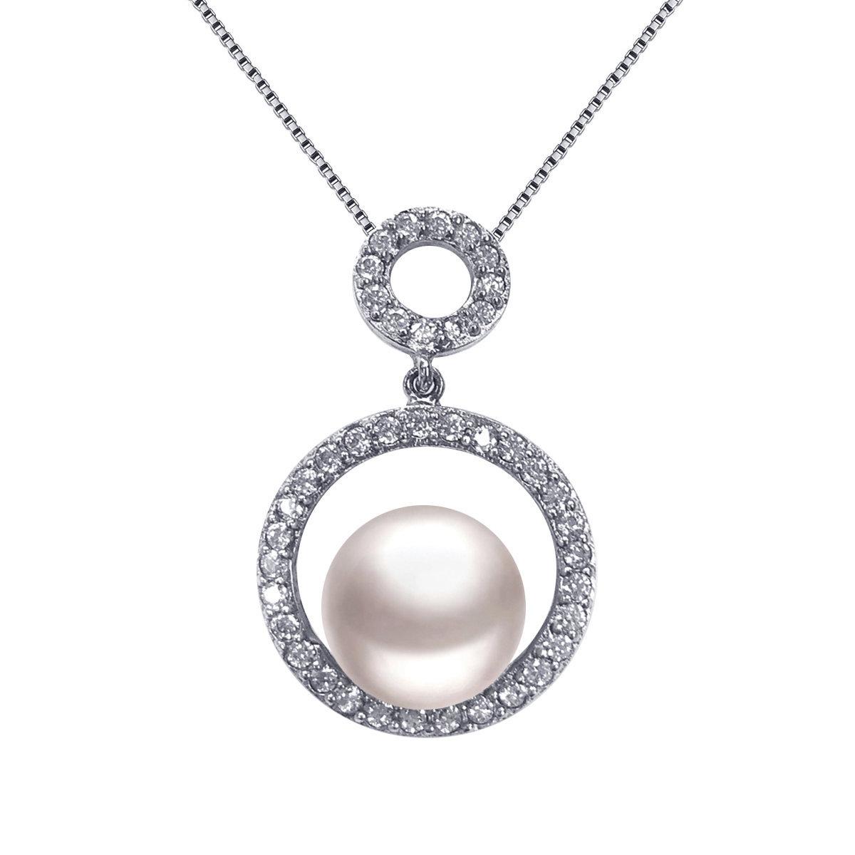 Secret- 925 純銀鑲白鋯石配養殖淡水珍珠吊墜連頸鏈