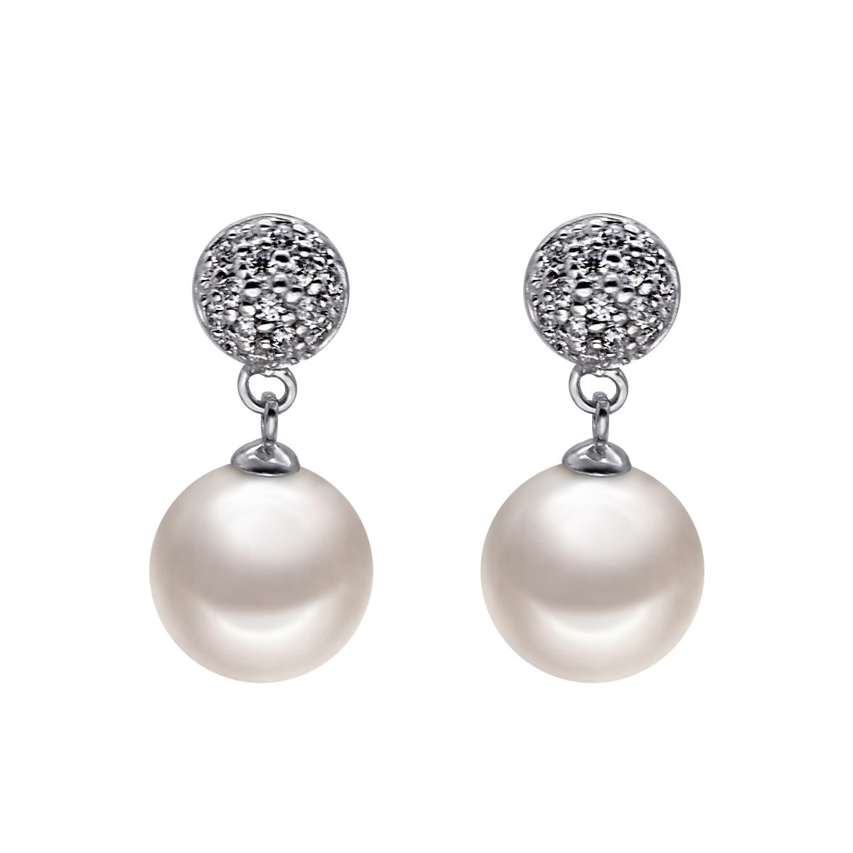 Pave Ball- 925 silver with Fresh water pearl earring