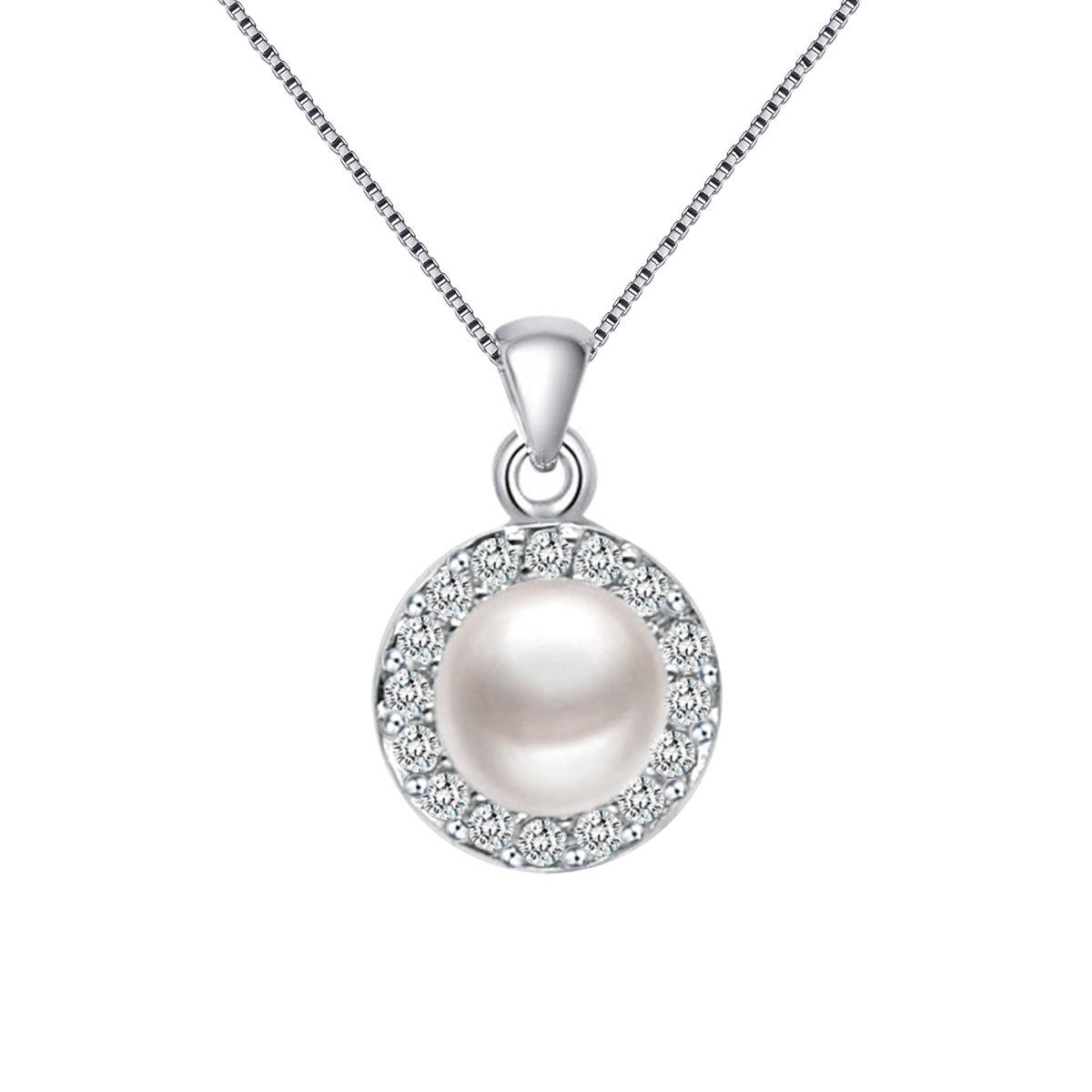 Begin- 925 純銀 鑲白鋯石配淡水珍珠吊墜 連頸鏈