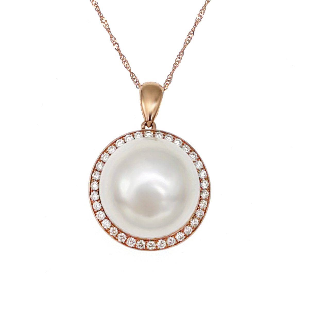 14K/585 玫瑰金鑲天然鑽石淡水養殖珍珠銀吊墜連頸鍊