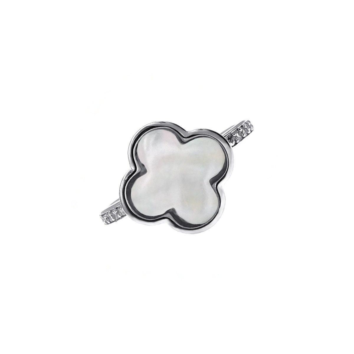 Clover Leaf- MOP with cz mounted 925 Silver Ring