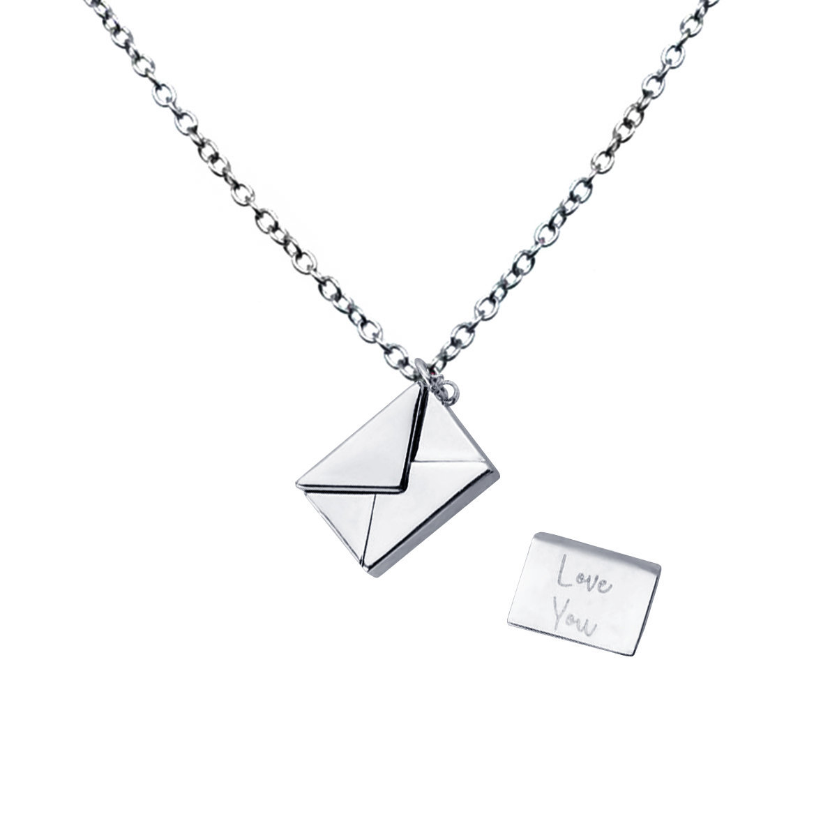 Deliver Love- 925 Silver Letter with envelope pendant with chain