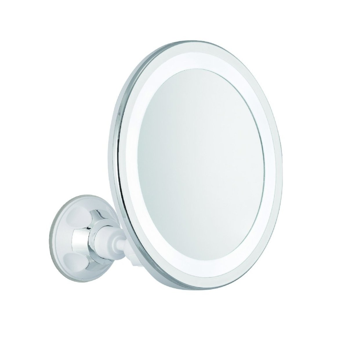 Adjustable mirror with daylight LED and suction cup