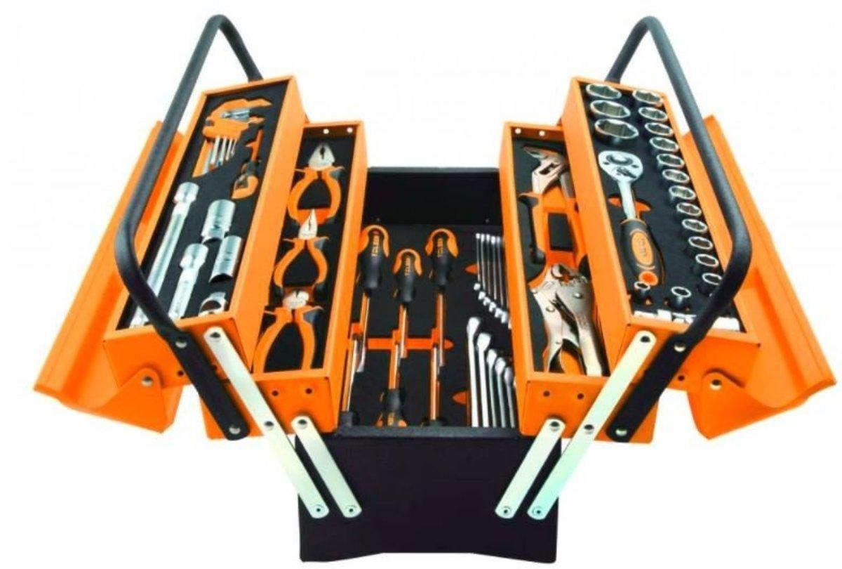 85401# TOLSEN 60件工具套裝 + 鐵工具箱 (香港行貨)