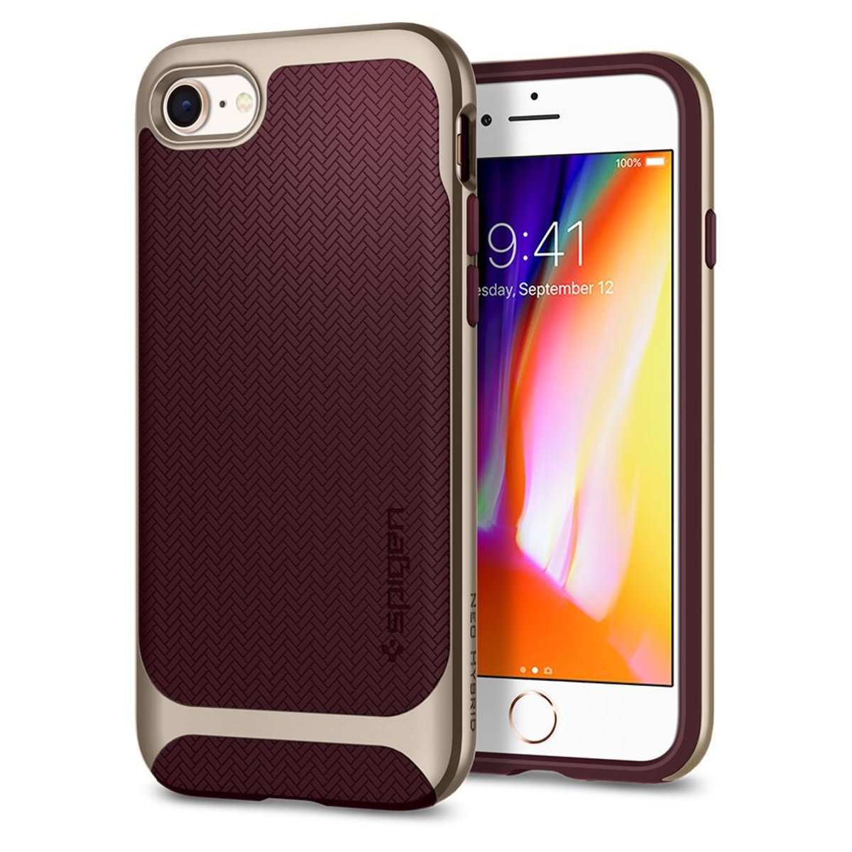 iPhone 8 Plus/7 Plus Case Neo Hybrid Herringbone - Burgundy Red