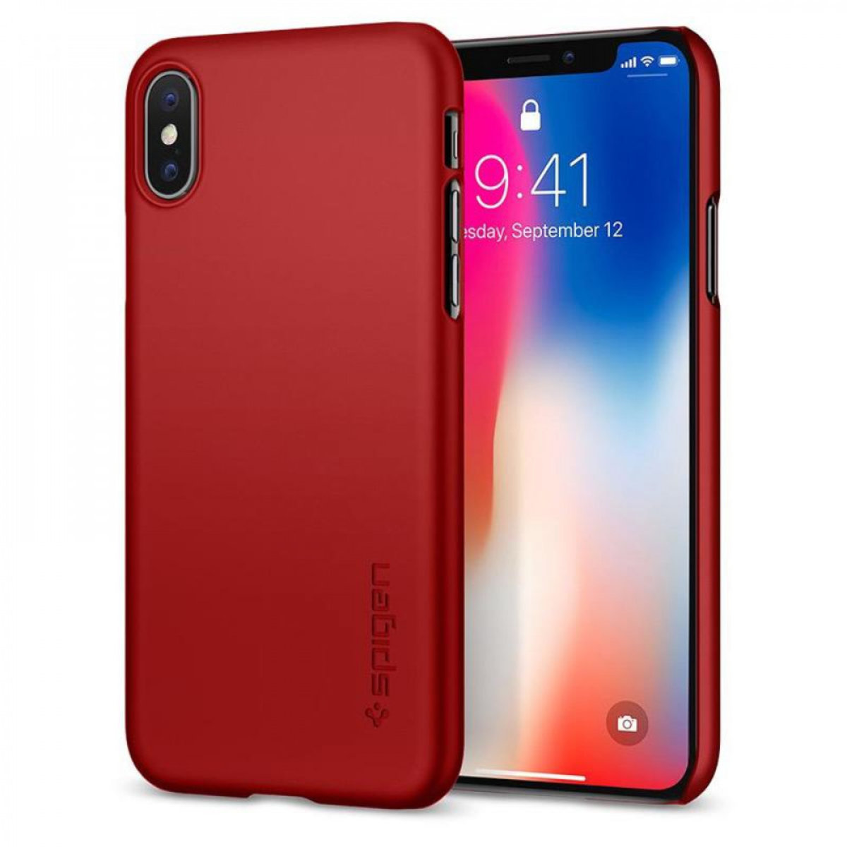 iPhone X Case Thin Fit - Metallic Red