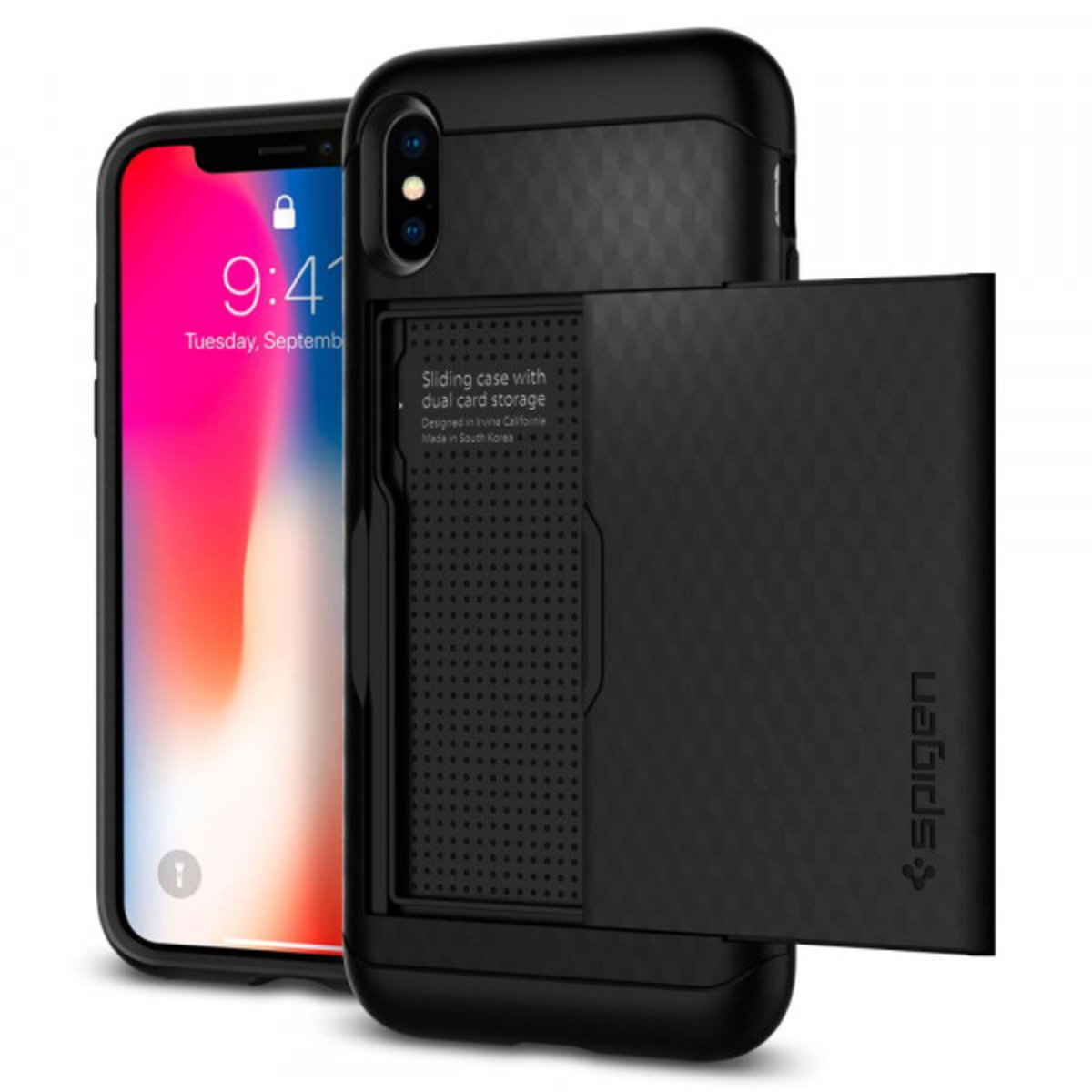 iPhone X Crystal Wallet 保護殼 - 黑