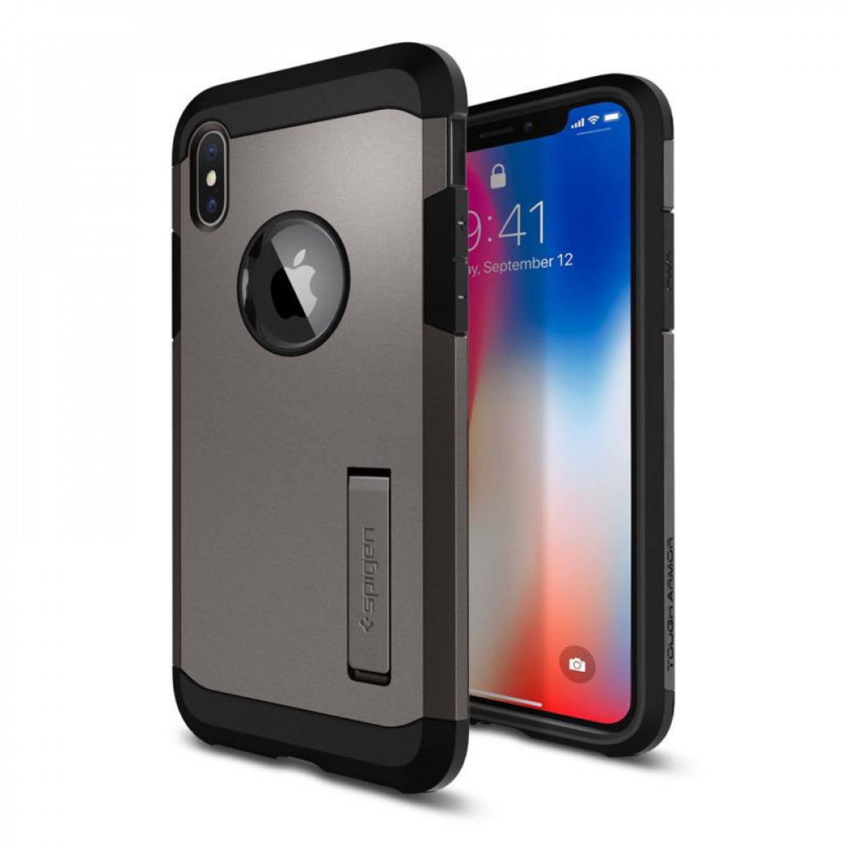 iPhone X Case Tough Armor 保護殻 - 灰