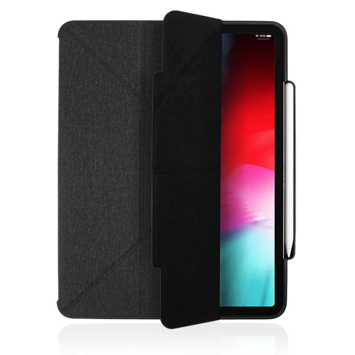 iPad Pro 12.9 吋 (2018) Amos 多角度折疊布紋皮套 - 含 Apple Pencil 筆槽 (灰)