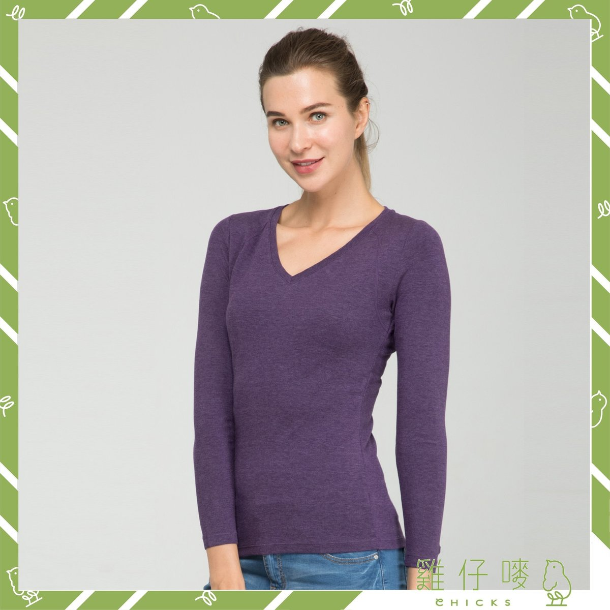 J-Fit Infra - Women V Neck Long Sleeves Top (Thermal) (Purple Grey) (Size L)