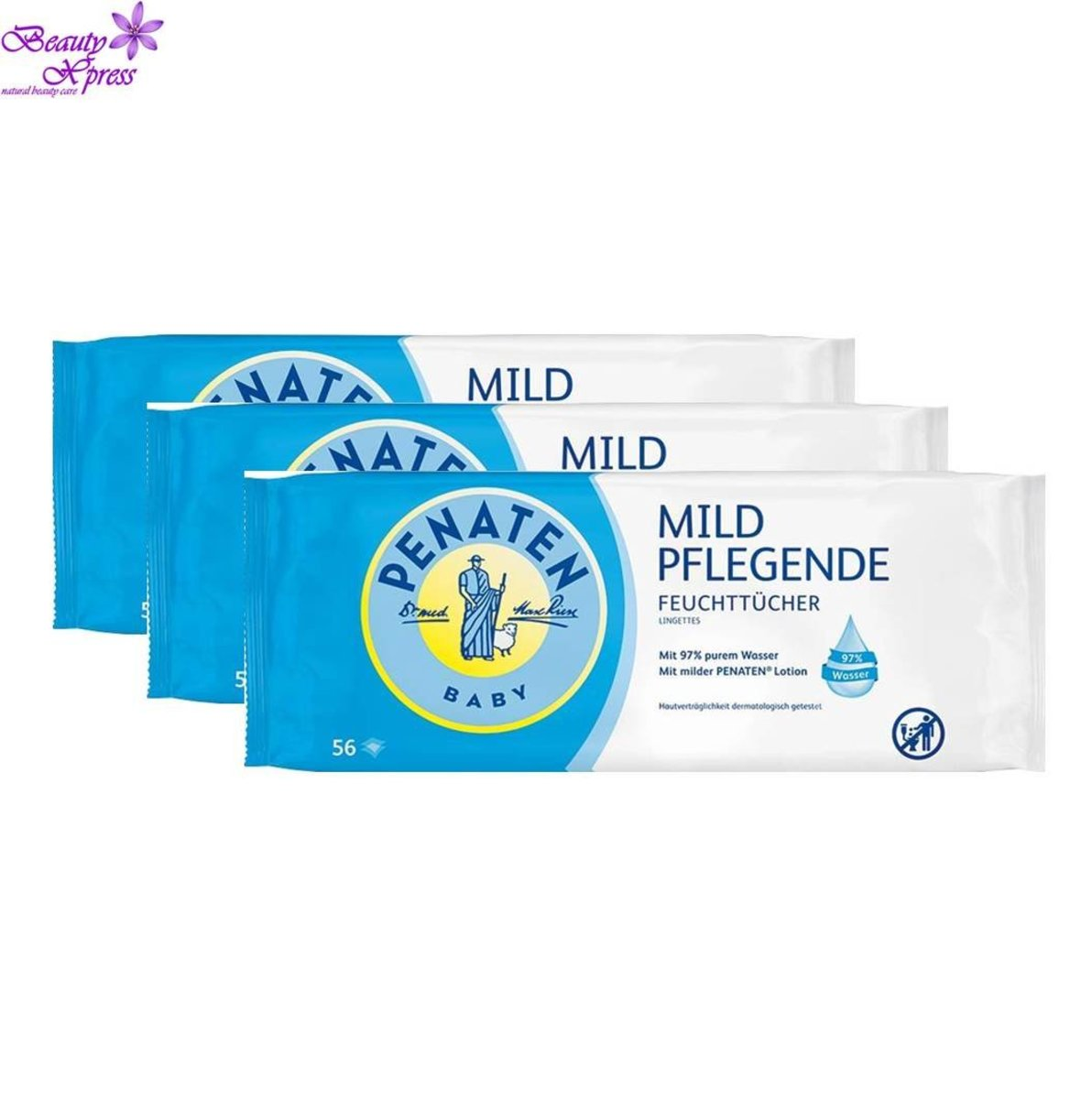3 X Penaten Baby Mild Nourishing Wet Wipes
