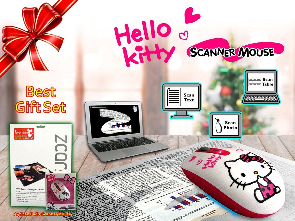 [Crazy MORE Dollar] Scanner Mouse - HELLO KITTY Limited Edition with A4 Scan Pad