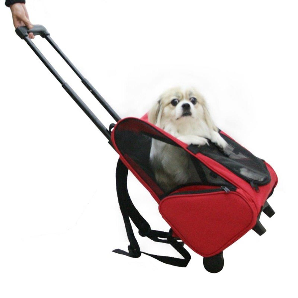 高質量 寵物 兩用背包 帶拉桿 手拉 輕便 便攜 (紅色)