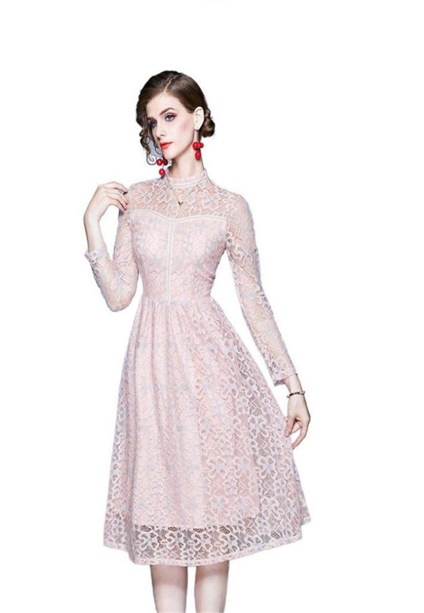 New Long-sleeved Flower Lace Sweet Dress