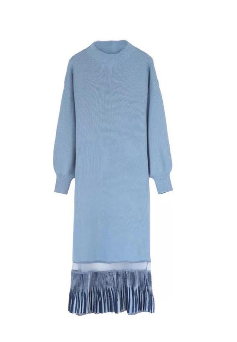 Knit With A Long Mesh Gauze Stitching Dress