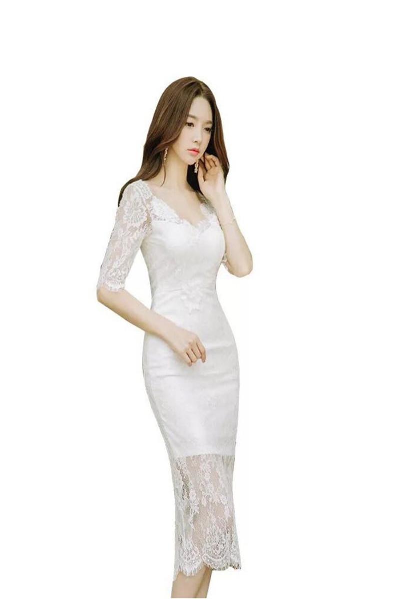 Slim-fit Lace V-neck Perspective Lace Dress
