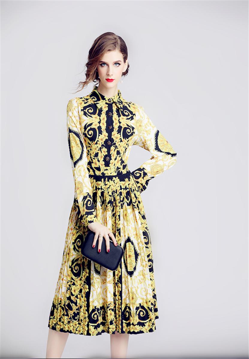 Spring Lapel Print Waist Slim Pleated Dress