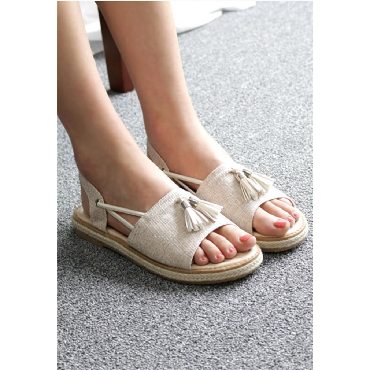 Korean-made Fabric Leather Flat Sandals