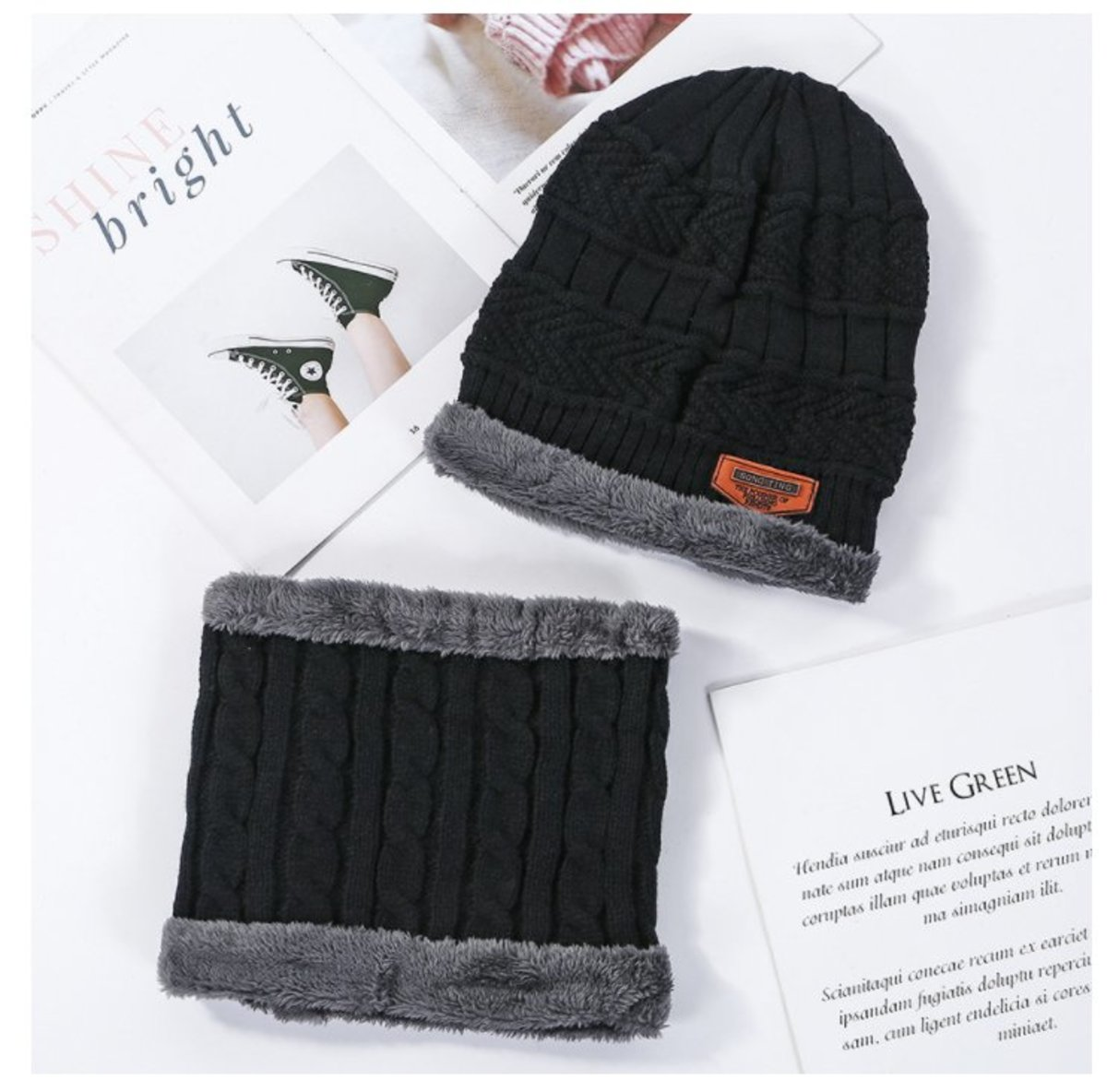 Autumn and winter men's plush fleece neck scarf and knitted cold hat two-piece (Audlt)
