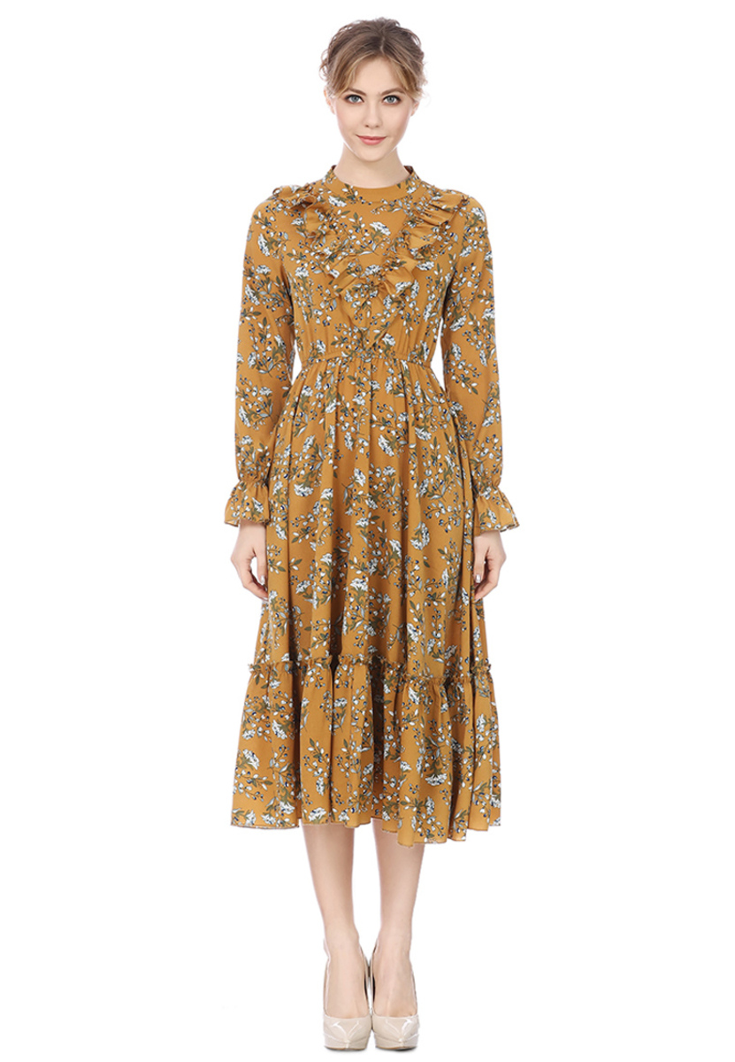 Stand Collar Fungus Fringed Printed Dress