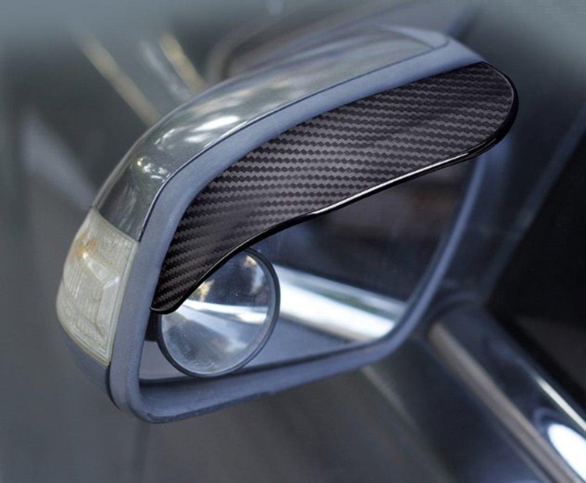 Car Two Side Rearview Mirrorn Rain Shield (Pair)- Carbon Fiber Patter