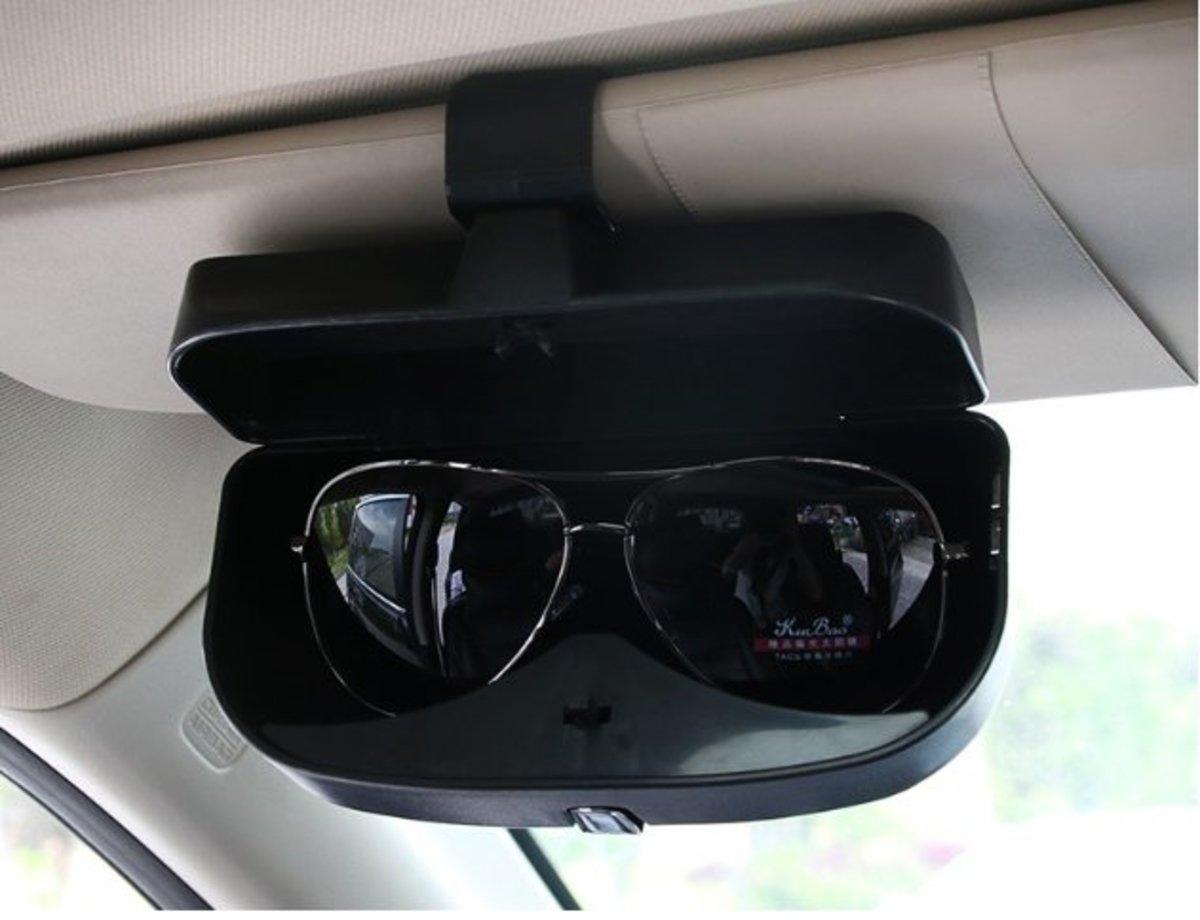 Multifunctional car glasses storage box