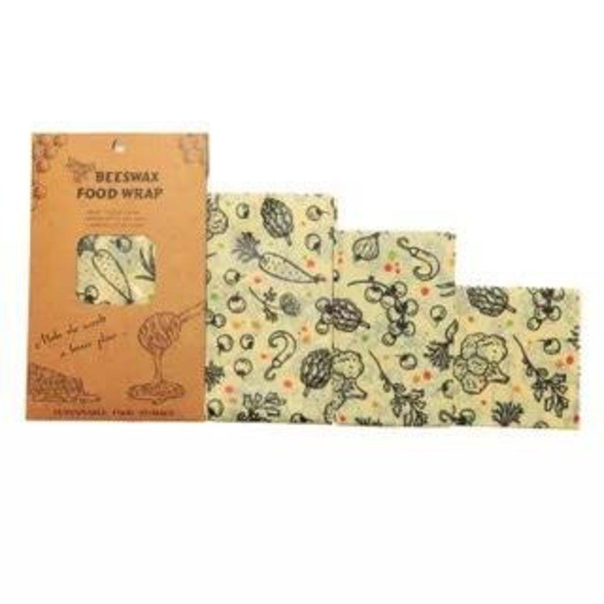 可重用環包蜂蠟保鮮紙 - 蔬菜花紋(1包3個)