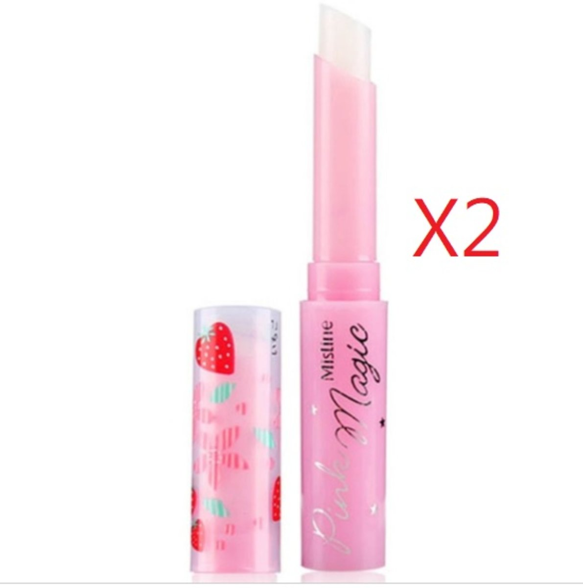 Pink Magic Strawberry Scent Plus Vitamin E Lip Balm X2