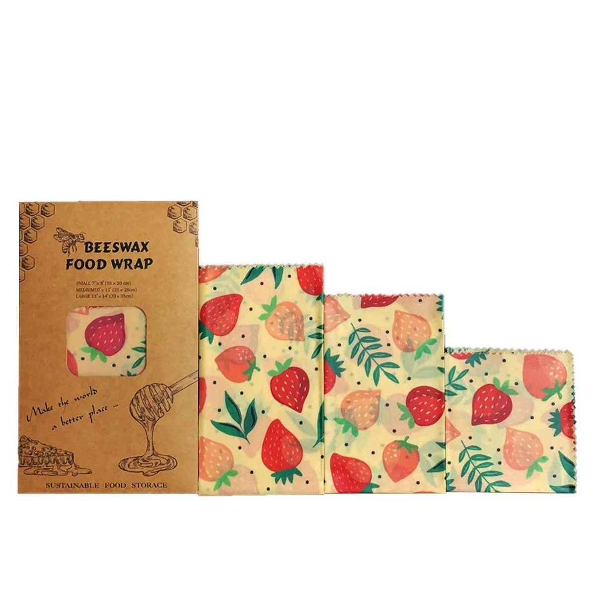 可重用環包蜂蠟保鮮紙 - 草莓花紋(1包3個)