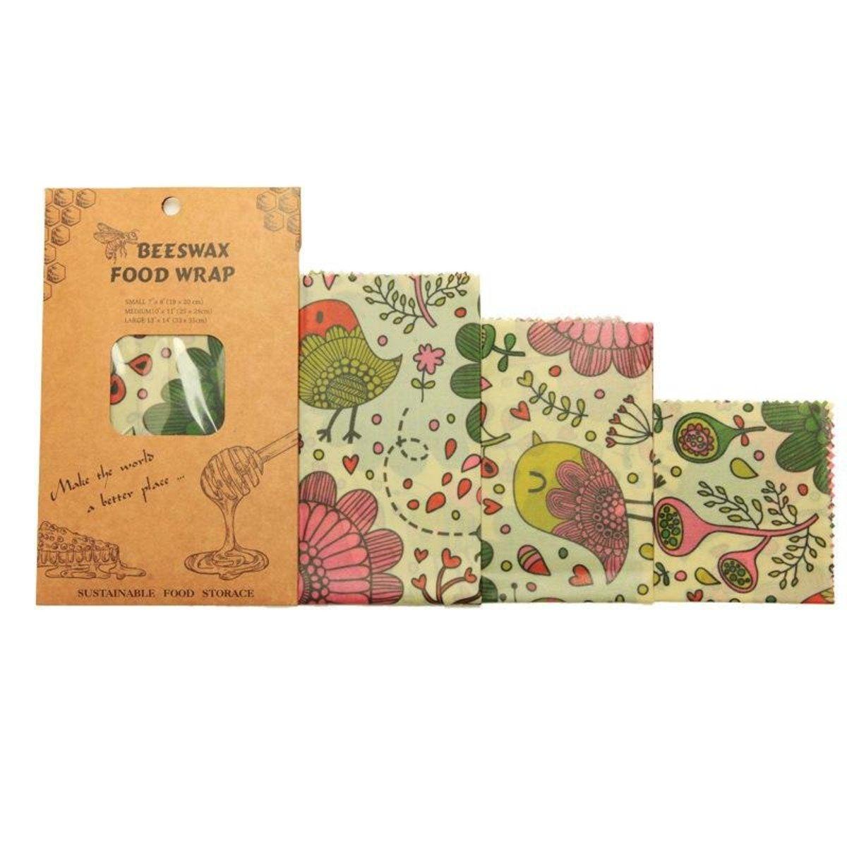 可重用環包蜂蠟保鮮紙 - 小鳥花紋(1包3個)