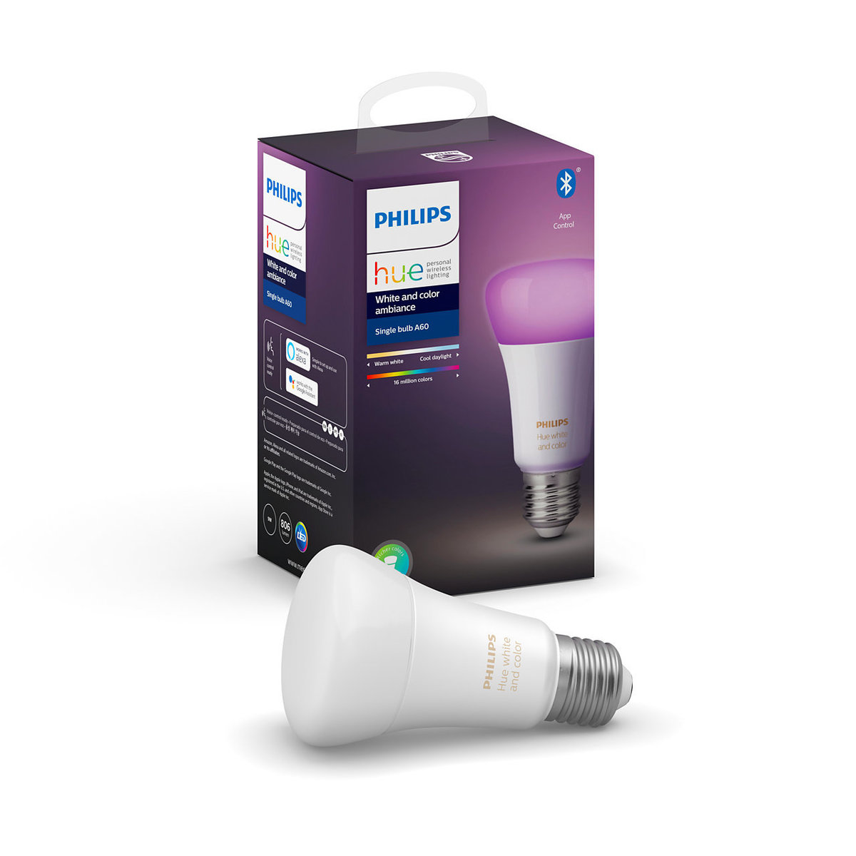 Latest Extra Bluetooth Hue White and Color Ambiance 白色/彩色 3.0 E27 燈膽 (行貨)